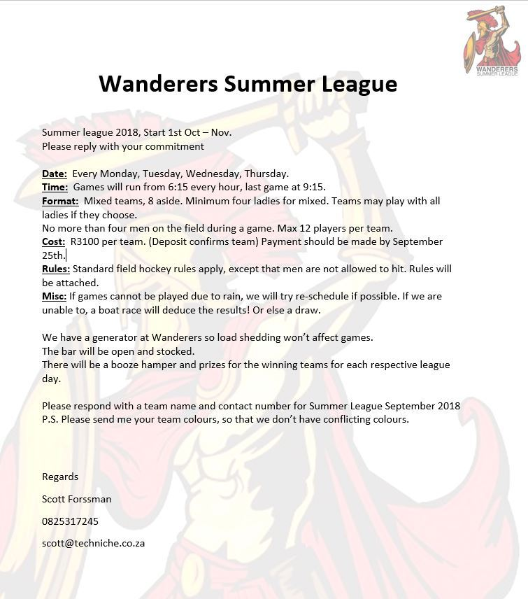 wanderers club Hockey News Update August 2018 7