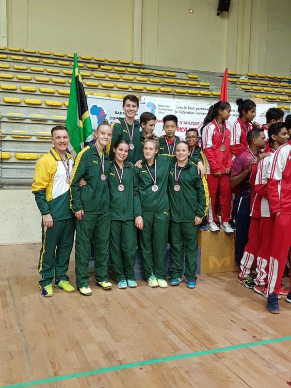 Dave Calvert far left with the silver medal winning team - SA under 15s at the Ivory Coast.
