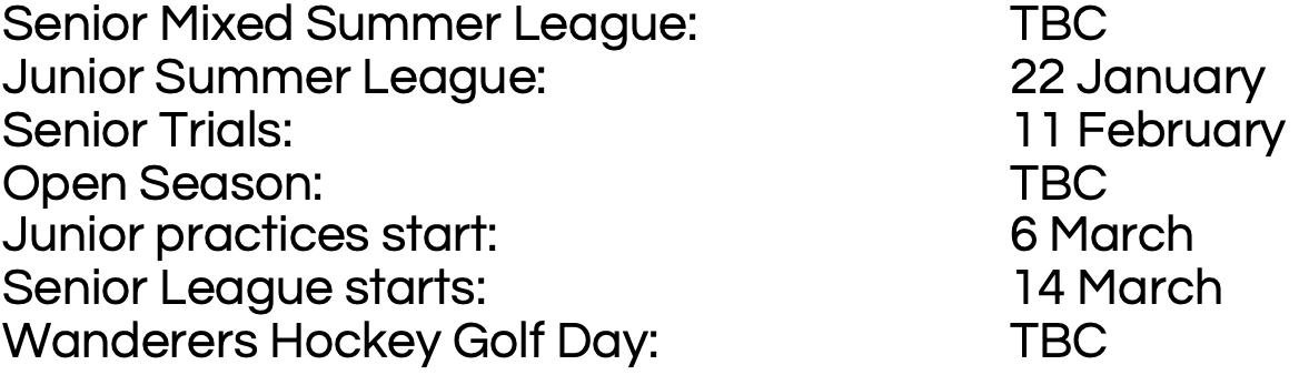 hockey dates to diarise