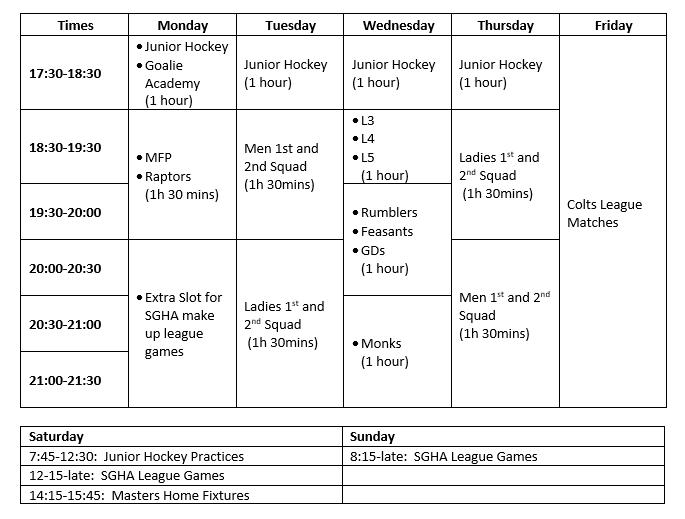 Senior Training Times